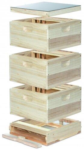 11er DN Holzbeute: 1 Hochboden  3 Zargen  1 Deckel